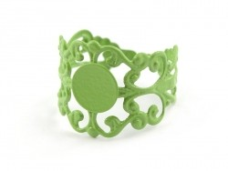 Baroque openwork ring blank - green