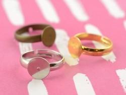1 hellsilberfarbene Ringfassung für Kinderringe - verstellbar