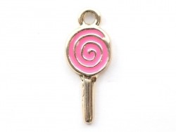 Enamelled pendant - pink lolly
