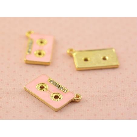 Enamelled pendant - Pink audio cassette