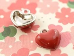Breloque émaillée - coeur rouge