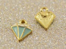 Breloque émaillée - diamant vert d'eau
