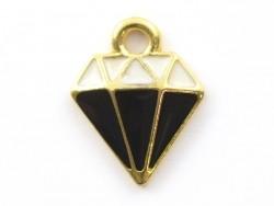 Emailleanhänger - schwarz-weißer Diamant