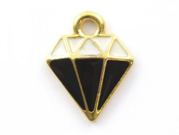 Breloque émaillée - diamant noir et blanc