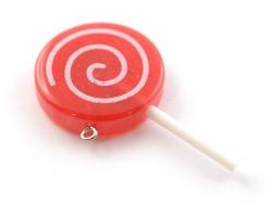 Resin lollipop pendant - raspberry red