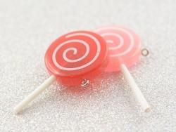 Pendentif en résine sucette - rose framboise