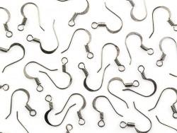 10 paires de boucles d'oreilles - crochets plats - couleur argenté clair