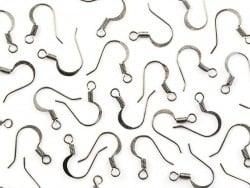 10 paires de boucles d'oreilles - crochets plats - couleur noir métallisé  - 1