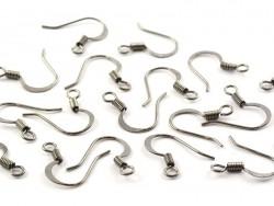10 pairs of earrings - flat earring wires - metallic black