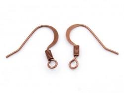 10 paires de boucles d'oreilles - crochets plats - couleur cuivre