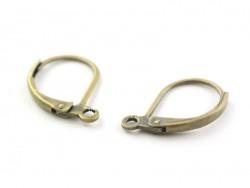 1 paire de boucles d'oreilles dormeuses couleur bronze  - 1