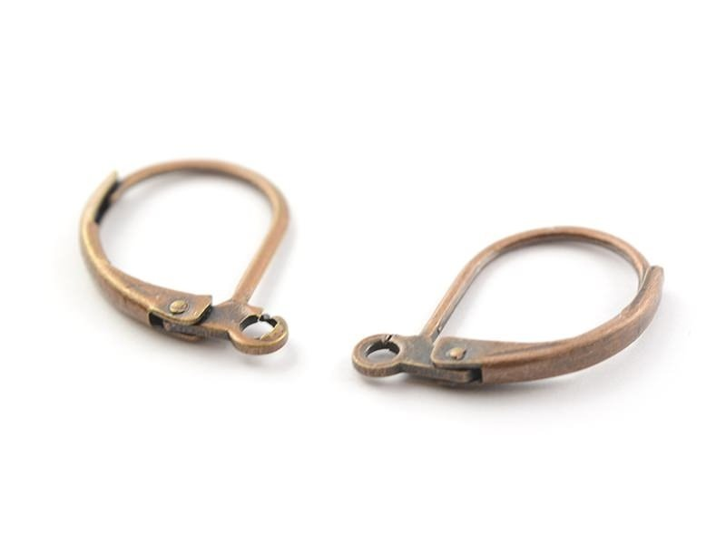 1 pair of lever back earrings - copper-coloured