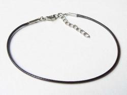 Bracelet en simili cuir tressé - Marron foncé  - 1