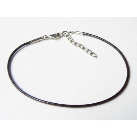 Braided faux leather bracelet - dark brown