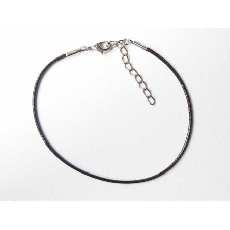 Bracelet en simili cuir tressé - Marron foncé