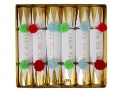 6 grands crackers à pompons