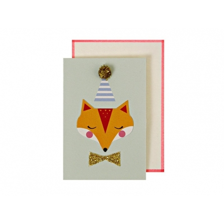 Carte Happy birthday - badge Renard