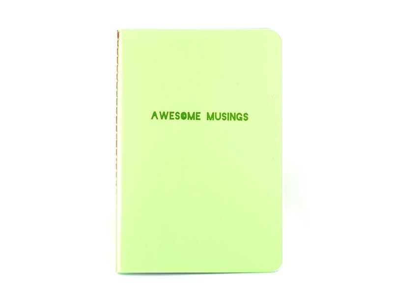 "Neon green notebook - ""Awesome Musings"""