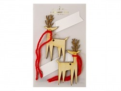 2 gift tags - Wooden reindeers