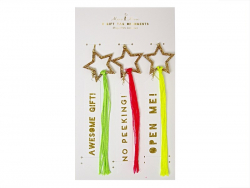 3 étiquettes cadeaux - étoiles filantes