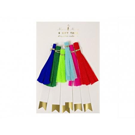 6 étiquettes cadeaux - pompons gland en papier Meri Meri - 1