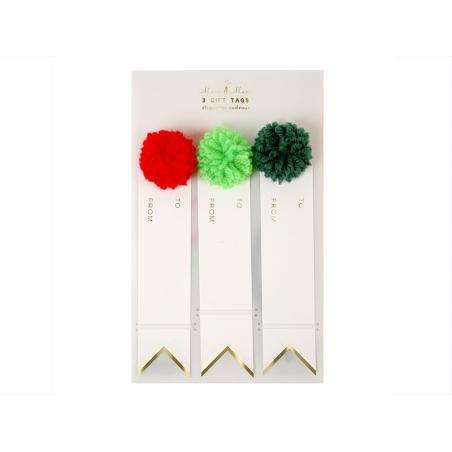 3 étiquettes cadeaux - pompons