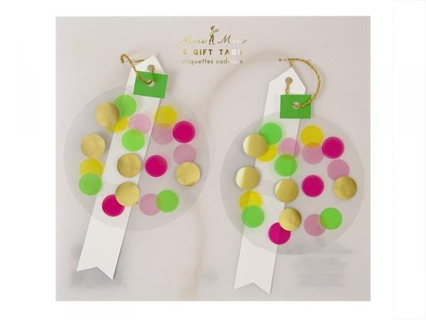 6 étiquettes cadeaux - confettis Meri Meri - 1