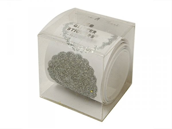 Roll of 50 silver-coloured glitter stickers
