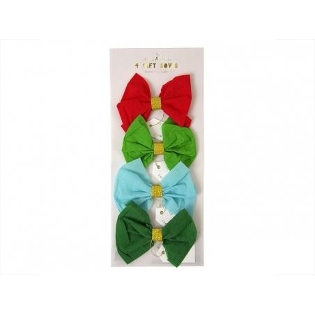 4 décorations cadeaux noeuds en crépons Meri Meri - 1