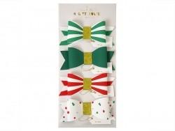 4 décorations cadeaux noeuds en papier multicolore