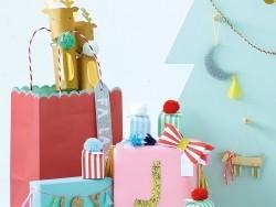 Geschenkedekoration – 4 bunte Papierschleifen