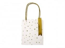 3 sacs cadeaux blancs et dorés