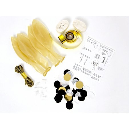 8 black and gold confetti balloons
