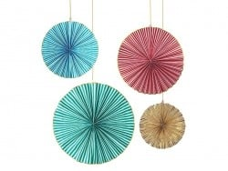 4 huge striped paper rosettes
