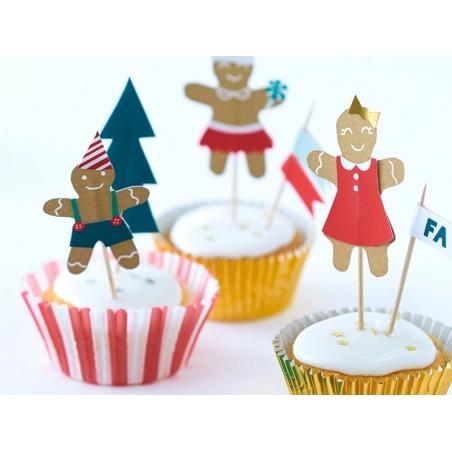 Set de 24 caissettes à cupcake et 12 cure-dents pain d'épices à décorer