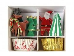 24 Backförmchen für Cupcakes und 24 weihnachtliche, dekorative Zahnstocher