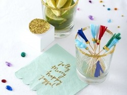24 decorative party picks with crepe paper tassels