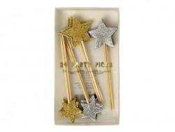 24 dekorative Zahnstocher mit glitzernden Sternen