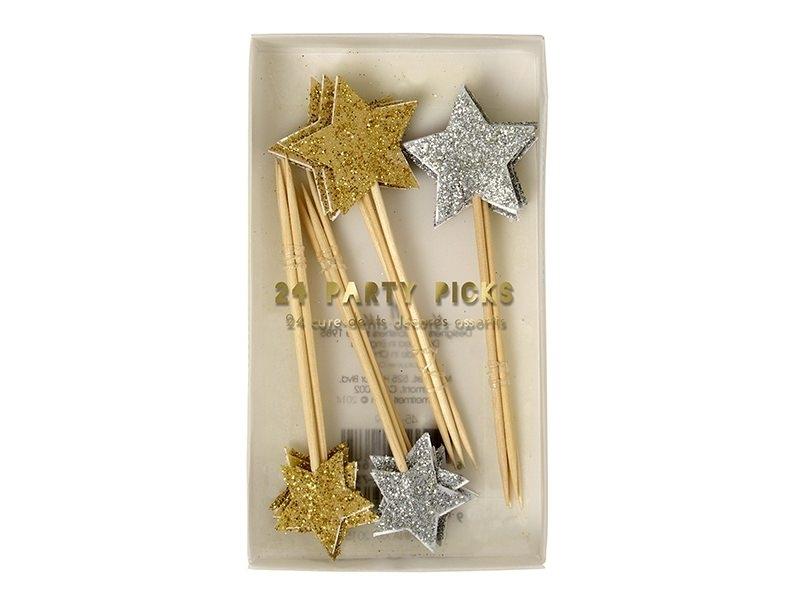 Acheter 24 cure-dents décoratifs étoiles à paillettes - 9,30€ en ligne sur La Petite Epicerie - 100% Loisirs créatifs