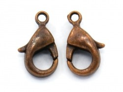 10 lobster clasps (10 mm) - copper-coloured