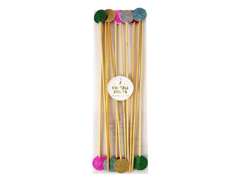 12 decorative swizzle sticks with glitter circles