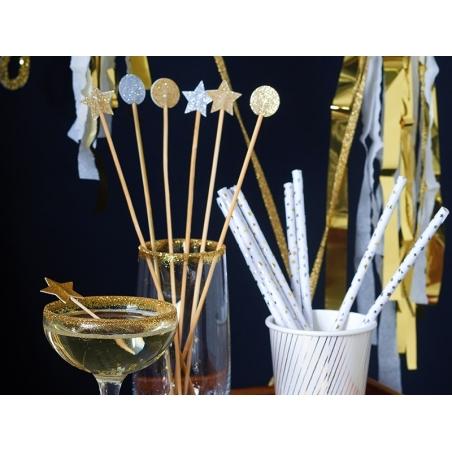 12 piques décoratives ronds à paillettes