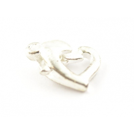 1 heart-shaped lobster clasp - light silver-coloured