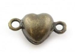 1 fermoir aimanté en forme de coeur - couleur bronze