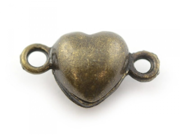 1 heart-shaped magnetic clasp - bronze-coloured