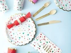 8 grandes assiettes en carton festives - Noël