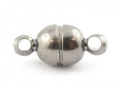 1 small round magnetic clasp - metallic black