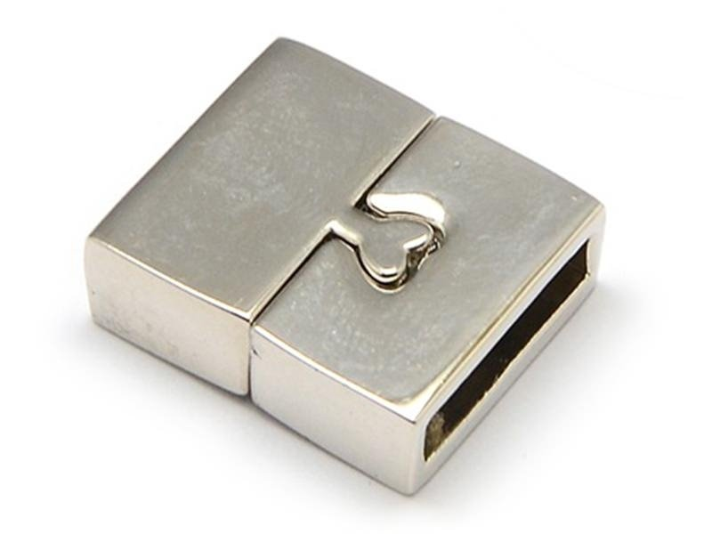 Fermoir aimanté rectangulaire 16 mm - couleur argenté   - 1