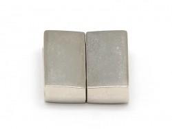 Fermoir aimanté rectangulaire 16 mm - couleur argenté   - 2