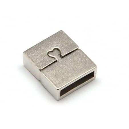 Fermoir aimanté rectangulaire 16 mm - couleur argenté   - 3